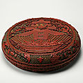 Circular box decorated with the character for spring and a bowl of treasures, Qing dynasty, Reign of the <b>Qianlong</b> <b>emperor</b>