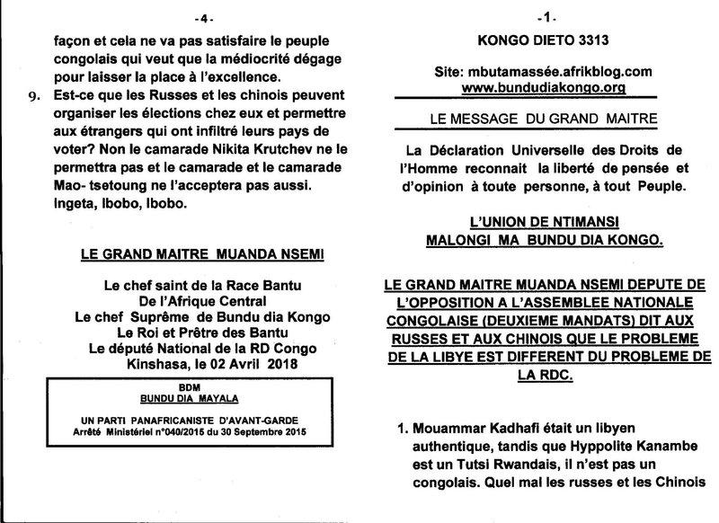 LE PROBLEME DE LA LYBIE EST DIFFERENT DU PROBLEME DE LA RDC a