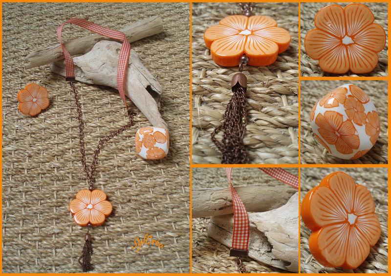 Sautoir fleur orange et blanc et bagues