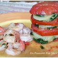 Gambas sautées, réduction au gingembre et tomate-burger
