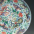 A large wucai 'dragon' dish, kangxi six-character mark in underglaze blue within a double circle and of the period (1662-1722)