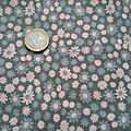 Coupon kaki petites fleurs roses 140 x 45 cm - 3 euros + 1.65 euro fdp