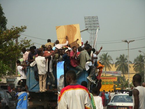 Bemba supporters against the background of the stadium
