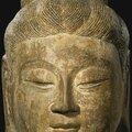 A gray stone head of a bodhisattva, china, tang dynasty