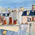 AQUARELLE sur toile : PARIS les toits
