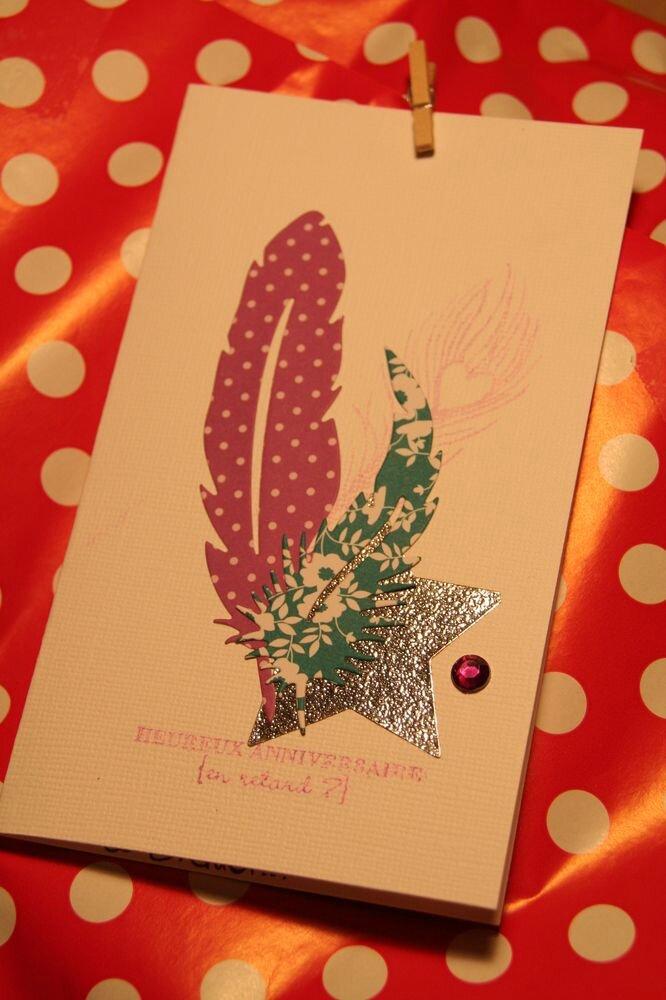 carte d'anniversaire.... à plumes !