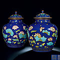 A Pair of Fine and Rare <b>Cloisonné</b>-<b>Imitation</b> 'Lotus' Jars and Covers, Qianlong Period (1736-1795)