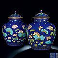 A Pair of Fine <b>and</b> Rare Cloisonné-Imitation '<b>Lotus</b>' <b>Jars</b> <b>and</b> Covers, Qianlong Period (1736-1795)