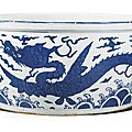A blue and white 'Dragon' fish bowl, Jiajing mark and period