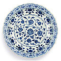 A fine blue and white '<b>floral</b>' <b>barbed</b> <b>charger</b>, Ming dynasty, Yongle period (1403-1424)