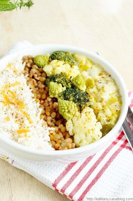 Blog culinaire Kallitany - bol anti gaspi chou riz lentilles poireaux (1)