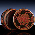 An extremely rare tianqi lacquer circular box and cover, <b>Xuande</b> six-character mark and of the period (1426-1435)