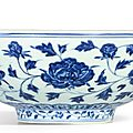 An exceptional and brilliantly painted large blue and white '<b>peony</b>' <b>bowl</b>, mark and period of Xuande (1426-1435)