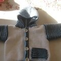 Veste gilet a capuche layette bébé modèle ELIAN taille3à6 mois PRIX 17€