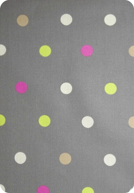 Tissu enduit pois multicolores - fond gris