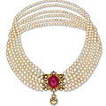 A six-strand natural pearl, <b>ruby</b> and diamond necklace