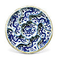 A blue and white 'dragon' <b>sweetmeat</b> <b>box</b>, Mark and period of Wanli (1573-1619)
