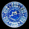 Dish, <b>fritware</b>, painted in underglaze cobalt blue with s scholar in a landscape, Iran, 1600-1640