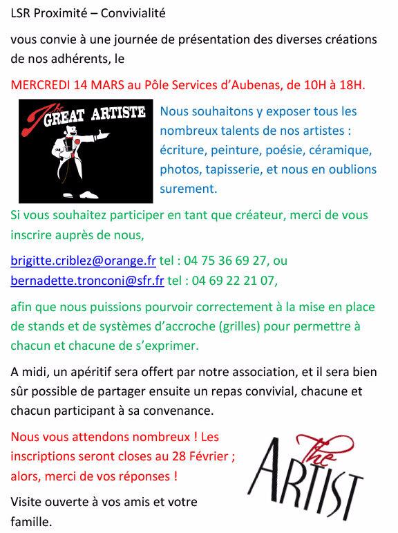 Appel aux artistes de LSR Sud Ardèche.