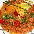 Spaghetti au piment et pesto de basilic.