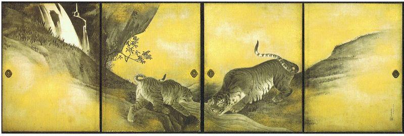 12-Kotohira-gu, paravents de la salle des tigres, détail, 4 panneaux fusuma (4x(182,5cm x 139cm), Maruyama Okyô, 1787, n°1