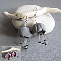 Boucles clochettes gris /rose