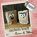 Fabriquer un sachet en kraft et le décorer (sachets kratf Renne & <b>Hibou</b>) pour emballer vos cadeaux gourmands