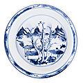 A blue and white 'Master of <b>the</b> <b>Rocks</b>' dish, Qing dynasty, Kangxi period (1662-1722)
