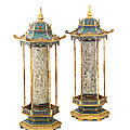 An exceptionally rare pair of <b>Imperial</b> jade gilt-bronze cloisonné and champlevé enamel 'pagoda' incense holders, Qianlong period