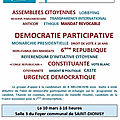 Urgence démocratique vaunage insoumise, débat projection, 10 mars à 18h foyer de saint dionisy