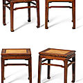 A set of four <b>huanghuali</b> rectangular stools, Late Ming dynasty