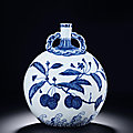 An Important Blue and White 'Lychee' Moonflask with Ruyi Handles, <b>Yongzheng</b> <b>Period</b>, 1723-1735