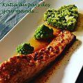 Pavé de saumon aux épices et semoule de choux romanesco