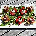 <b>Salade</b> italienne aux figues, jambon cru et tomate mozzarella