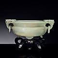 A well-carved white jade <b>marriage</b> <b>bowl</b>, Qianlong period (1736-1795)