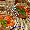 Minestrone de fruits, jus parfumé au basilic