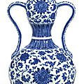 An extremely fineand rare blue and white double-gourd vase, Seal mark and period of Qianlong