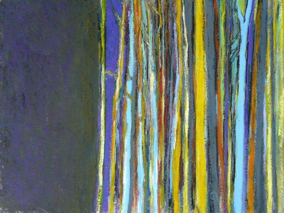 Forêt #54 (oublie la ville oublie la vitesse contre un arbre), 2012, pastel à l'huile, 32 x 24 cm