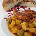 Cuisses de poulet aux olives et pommes de terre au four