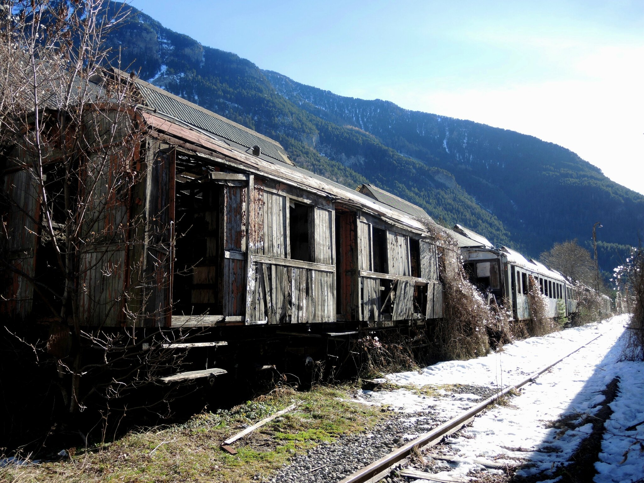 Canfranc, anciens wagons (Espagne)
