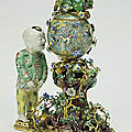 Pair of decorative groupspair of decorative groups. unknown. porcelain: chinese, 1622-1795; flowers & mounts: french, 1740-45