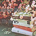 Challenge 2014 : les 26 livres - terminé