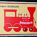 Une locomotive rouge ... des vis ... une carte d'anniversaire pour garçon !