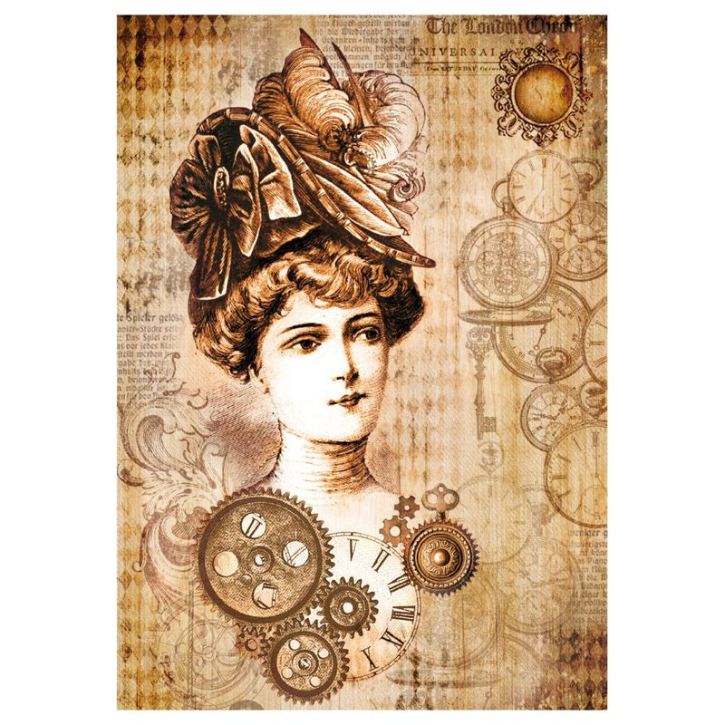 stamperia-rice-paper-a4-steampunk-woman-with-hat-d