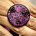 bague assortie broche violette