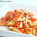 Crevettes au miel et salade de pomme & carottes
