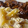 joues de boeuf à la bière et moutarde-gratin de macaroni