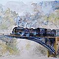 Train à vapeur sur le pont, aquarelle 55x46cm papier 300g montval grain fin