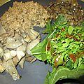 Assiette vegan aux pleurotes et salade de saison