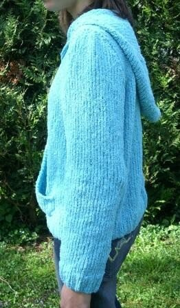 Pull capuche turquoise-3